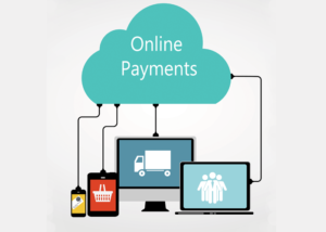 online payments concept, multiple devices